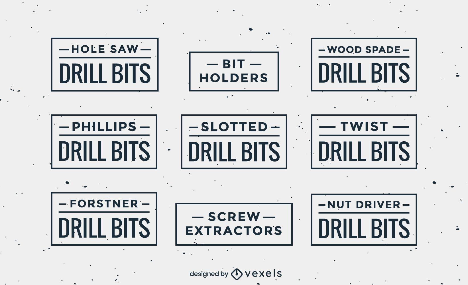 Flat drill bits labels set
