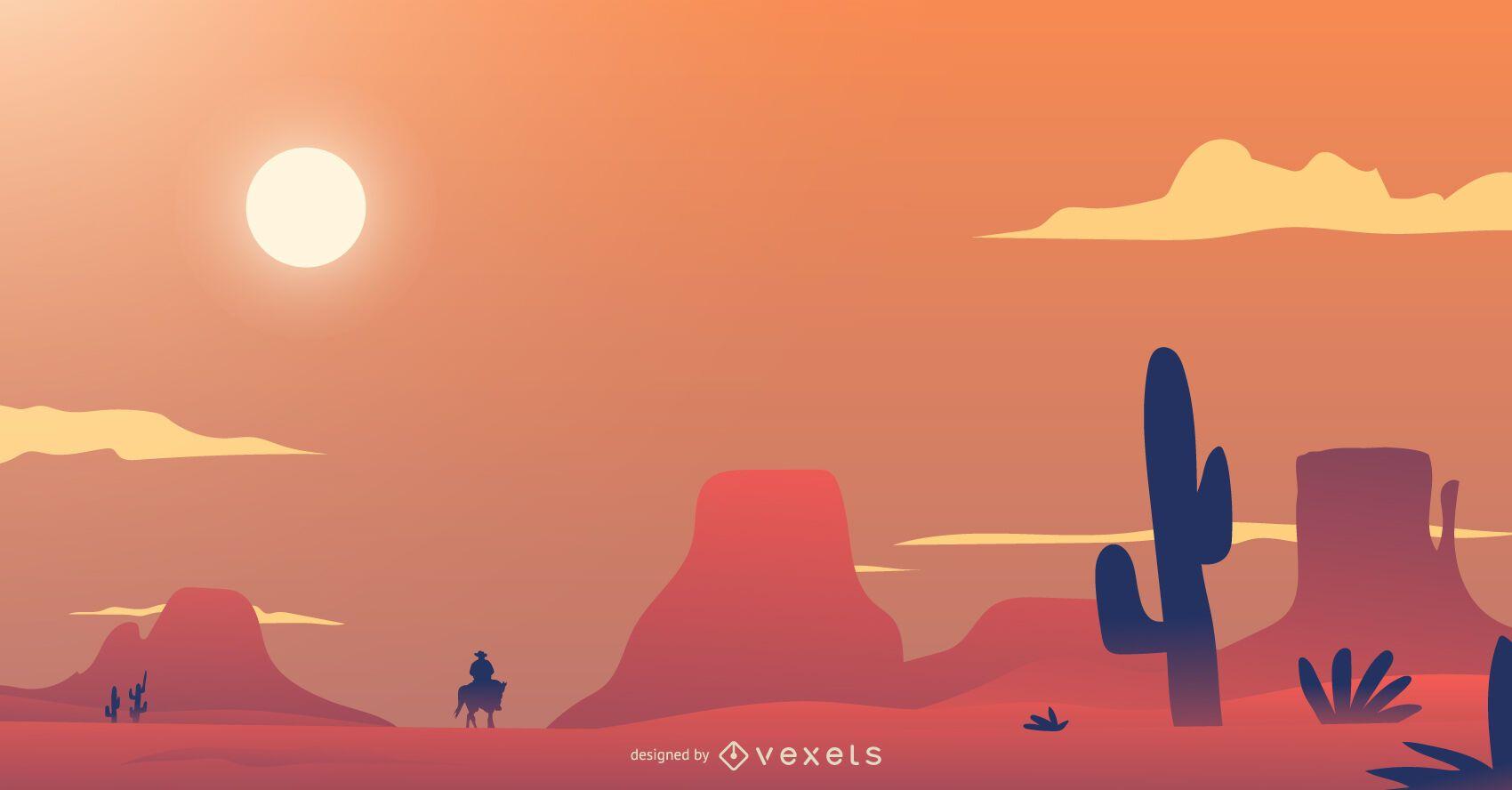 Desert background with cowboy