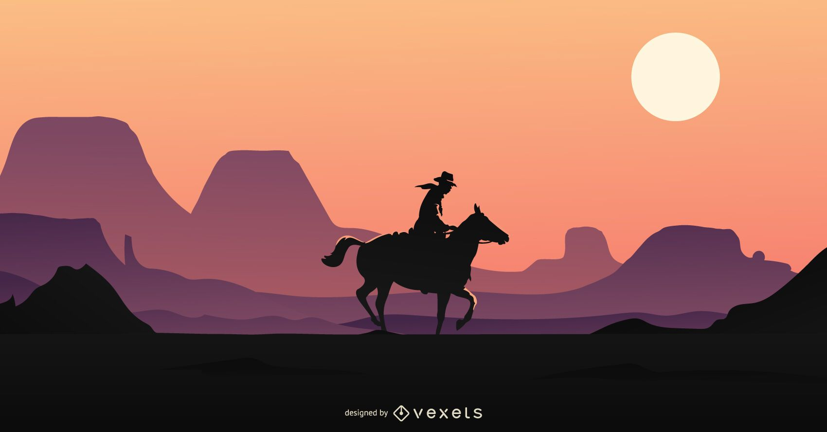 Cowboy in horse profile riding background