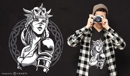 Scandinavian warrior woman t-shirt design
