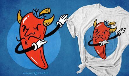 Diseño de camiseta de dabbing de comida de chili enojado