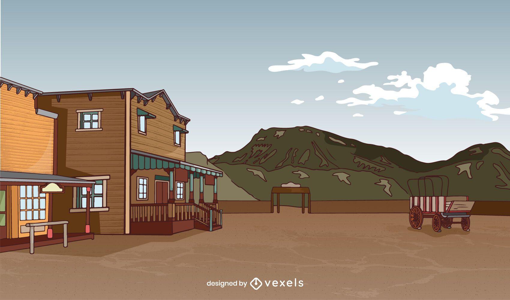 Wild west town landscape background