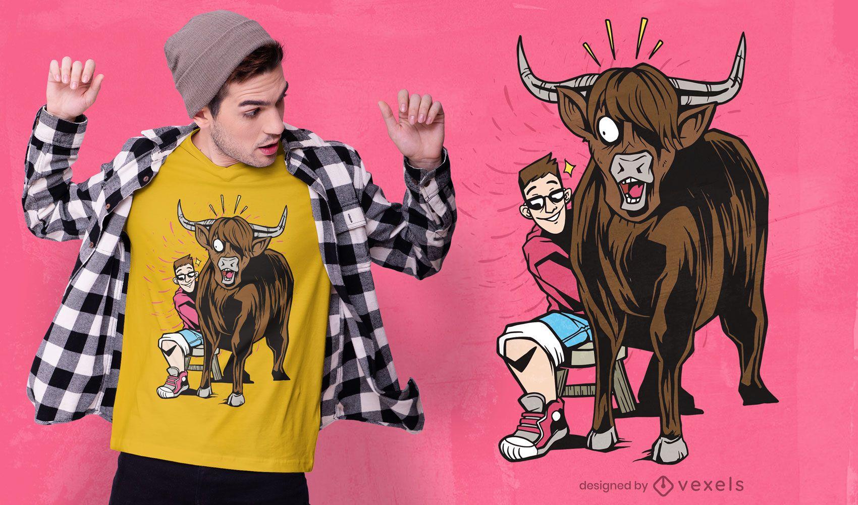 REQUEST man and touro cartoon t-shirt design