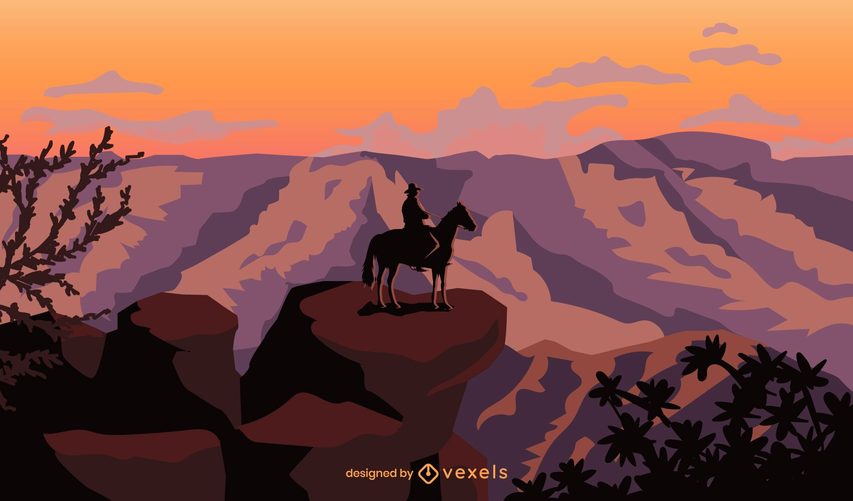Standing cowboy in horse in canyon background
