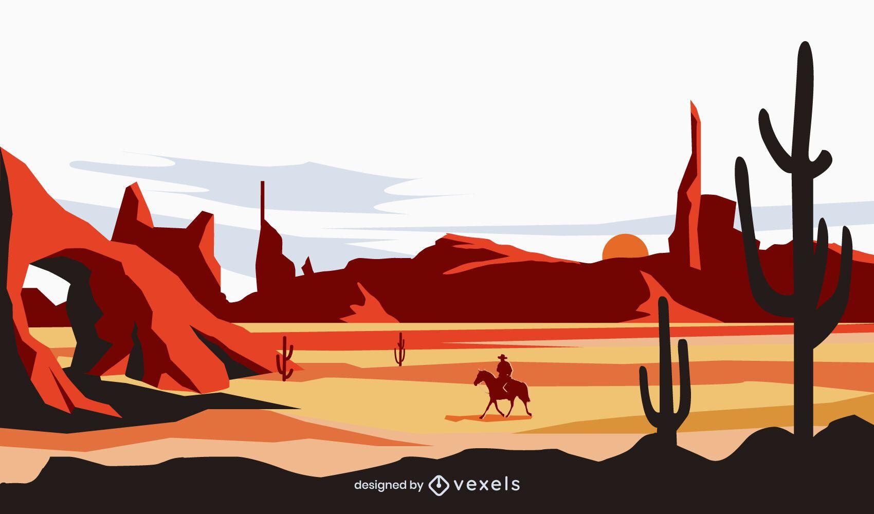 Cowboy a cavalo no fundo do deserto