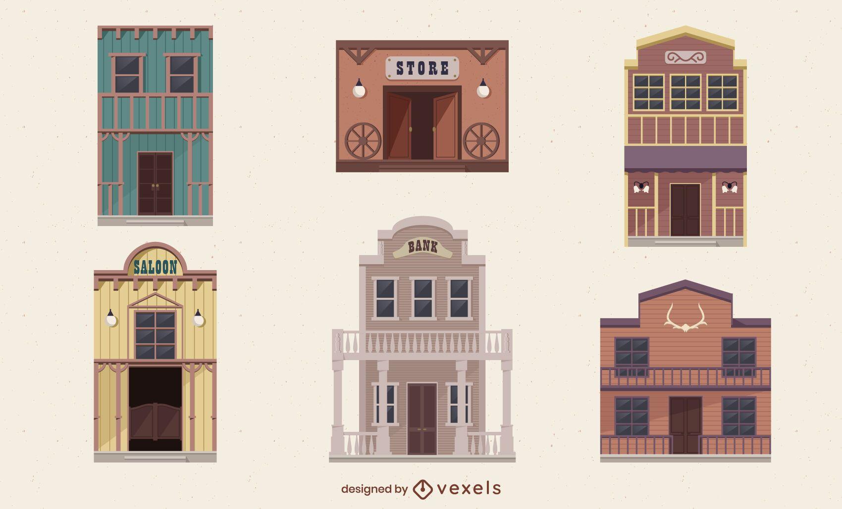 Set of wild west semi flat buildings