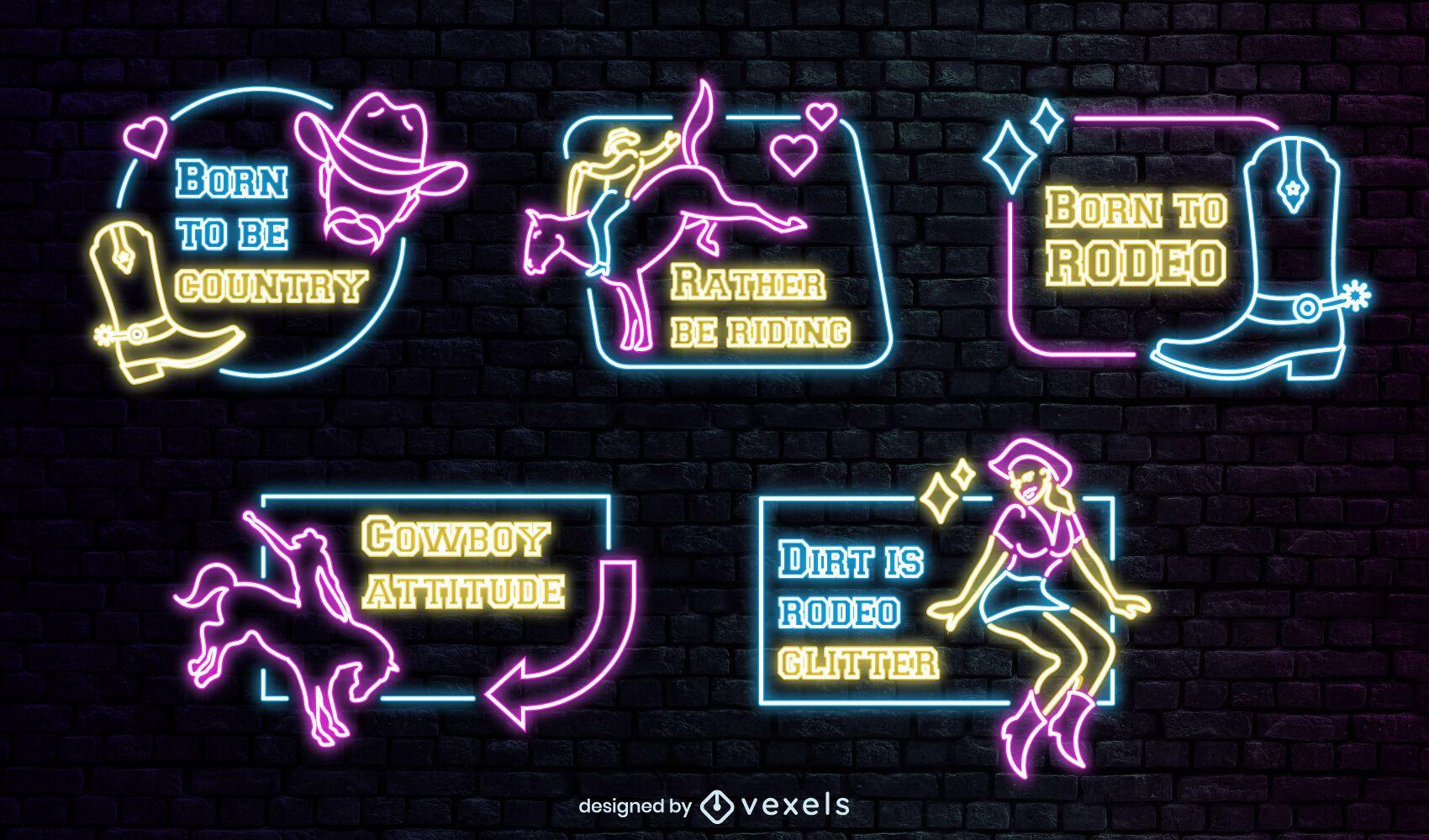 Cowboy ranch set of neon badges