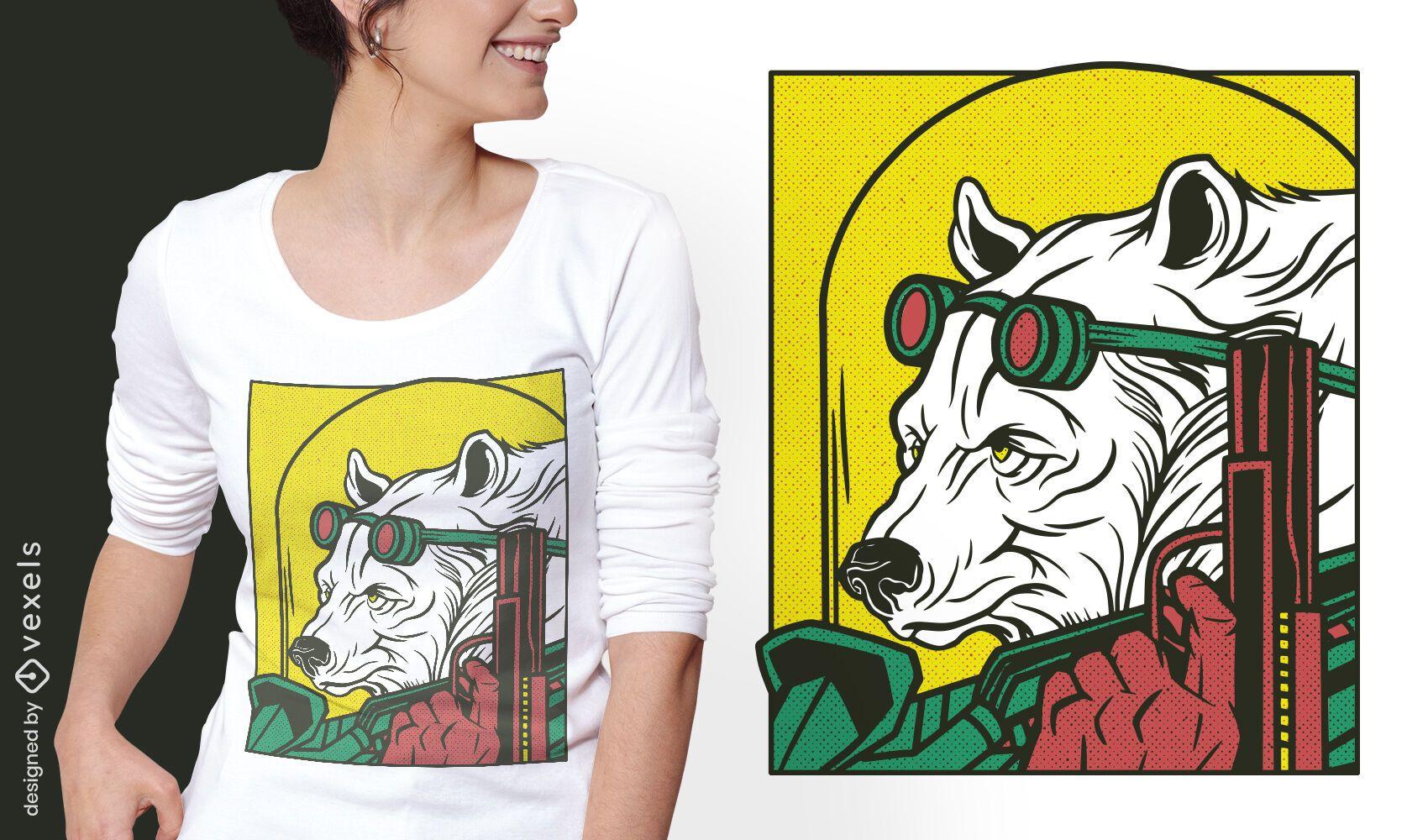 Diseño de camiseta cómica animal oso mafia