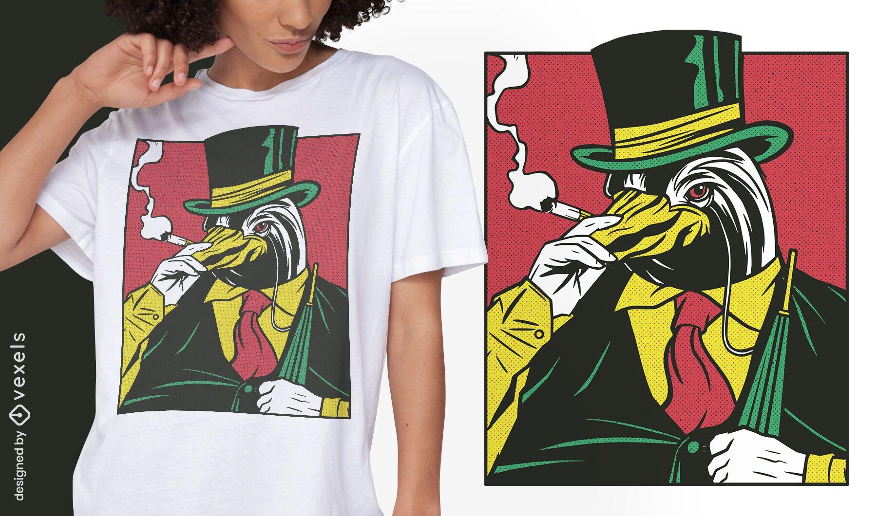 Diseño de camiseta cómica animal pingüino mafia