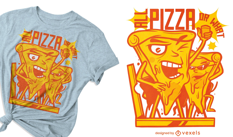 Design de t-shirt de desenho animado de fatia de pizza