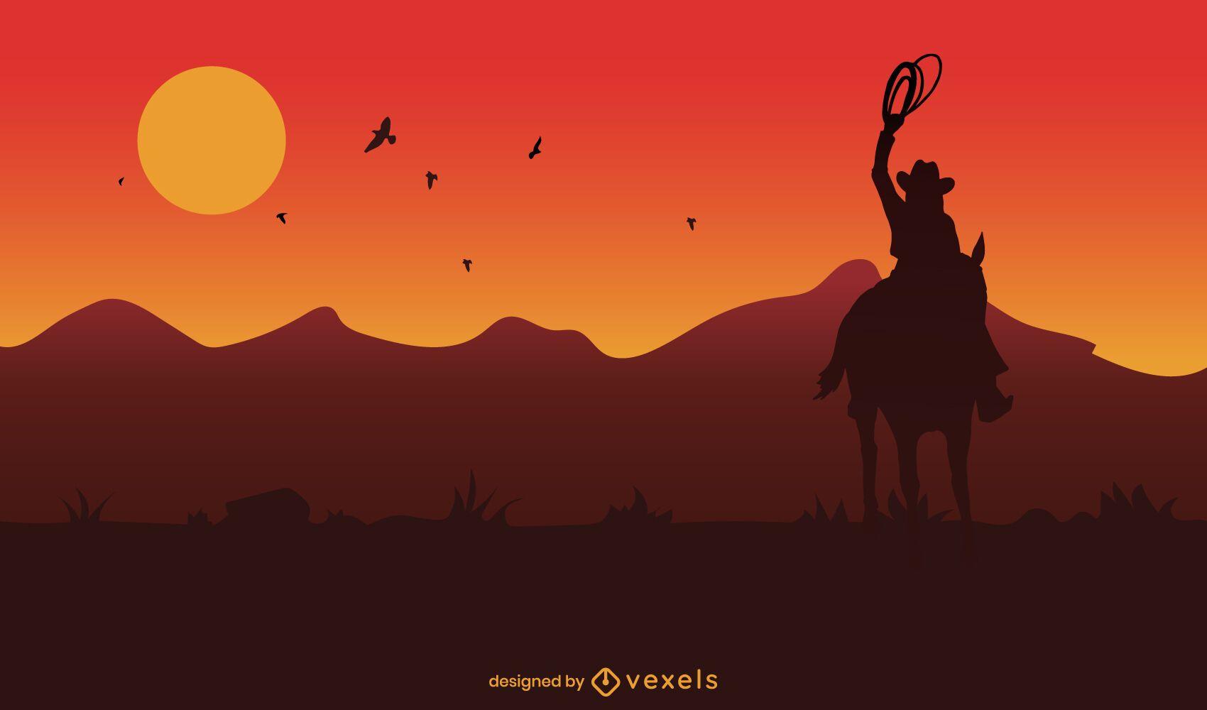 Vaquero, en, caballo, en, ocaso, plano de fondo