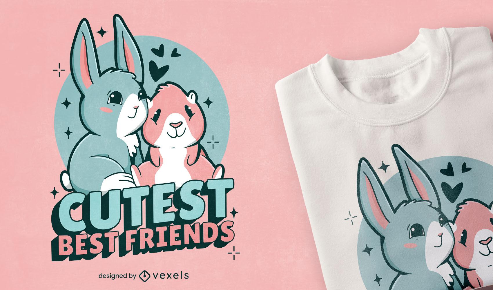 Diseño de camiseta linda conejillo de indias y conejito
