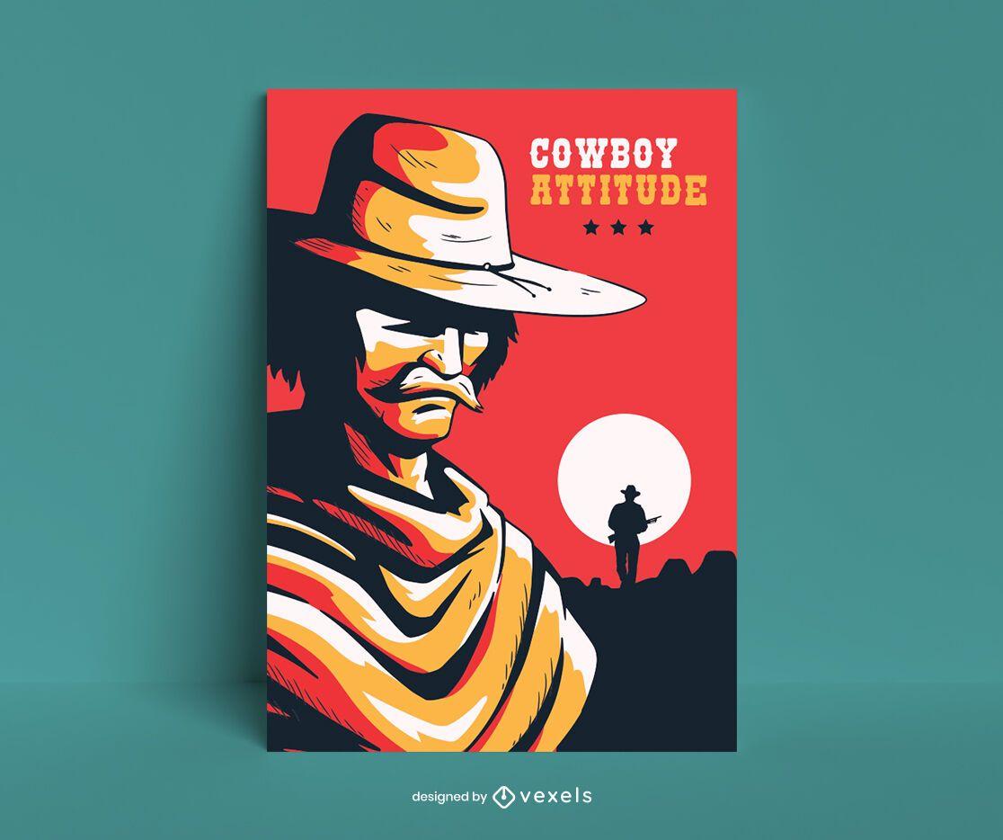 Diseño de cartel de dibujos animados de personaje de vaquero