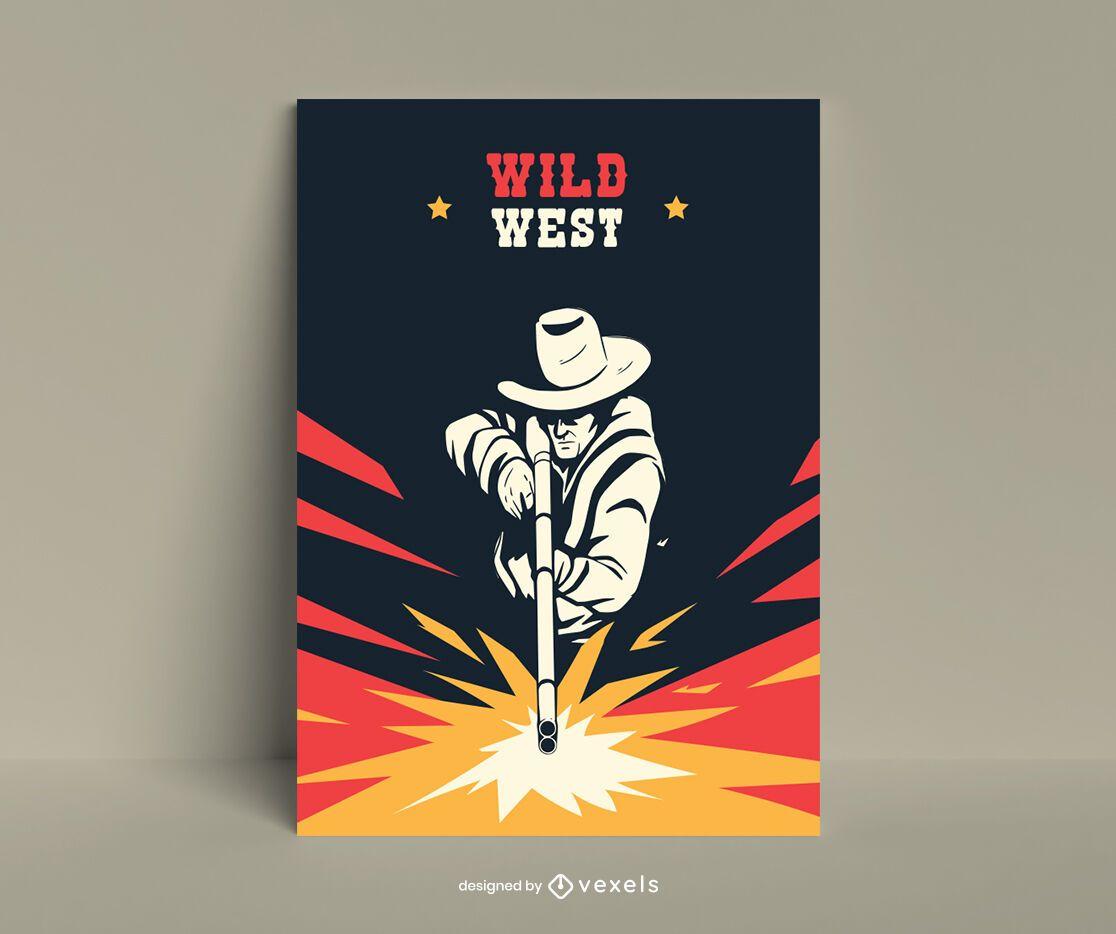 Cowboy shooting flat poster design