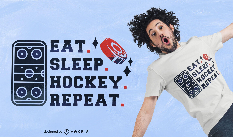 Eat Sleep Hockey Wiederholungs-T-Shirt-Design