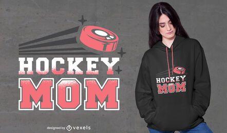 Diseño de camiseta de cita de mamá de deporte de hockey