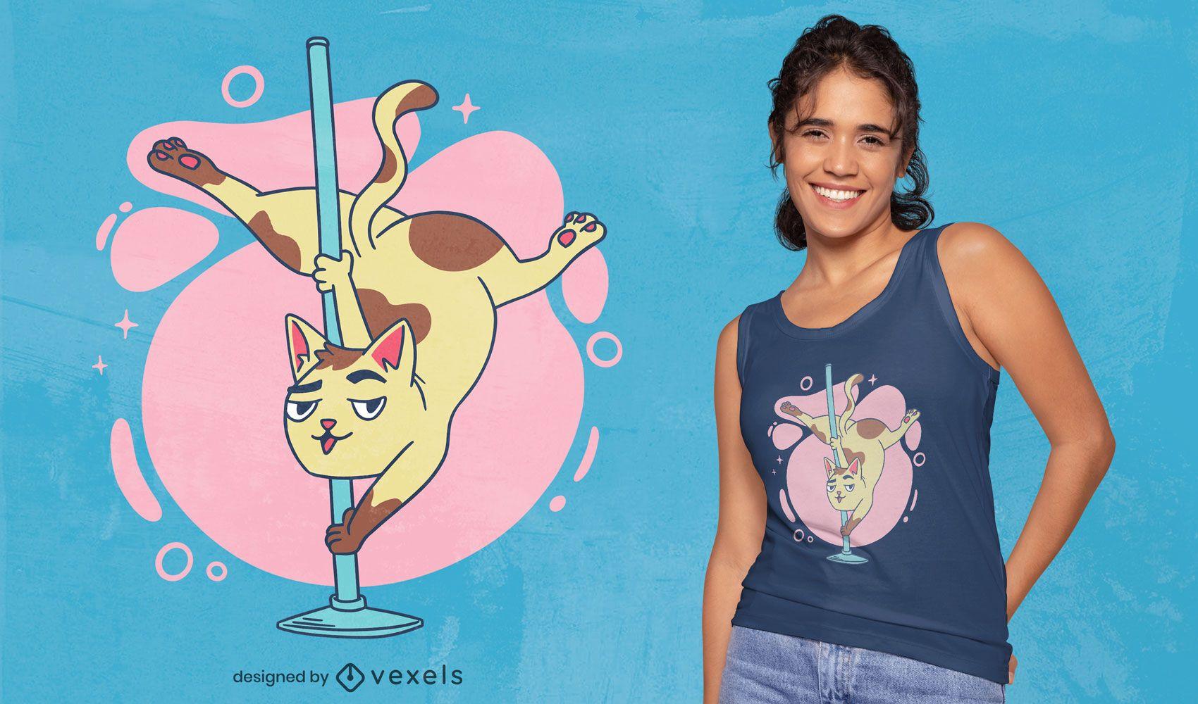 Diseño de camiseta de dibujos animados de gato bailando en poste