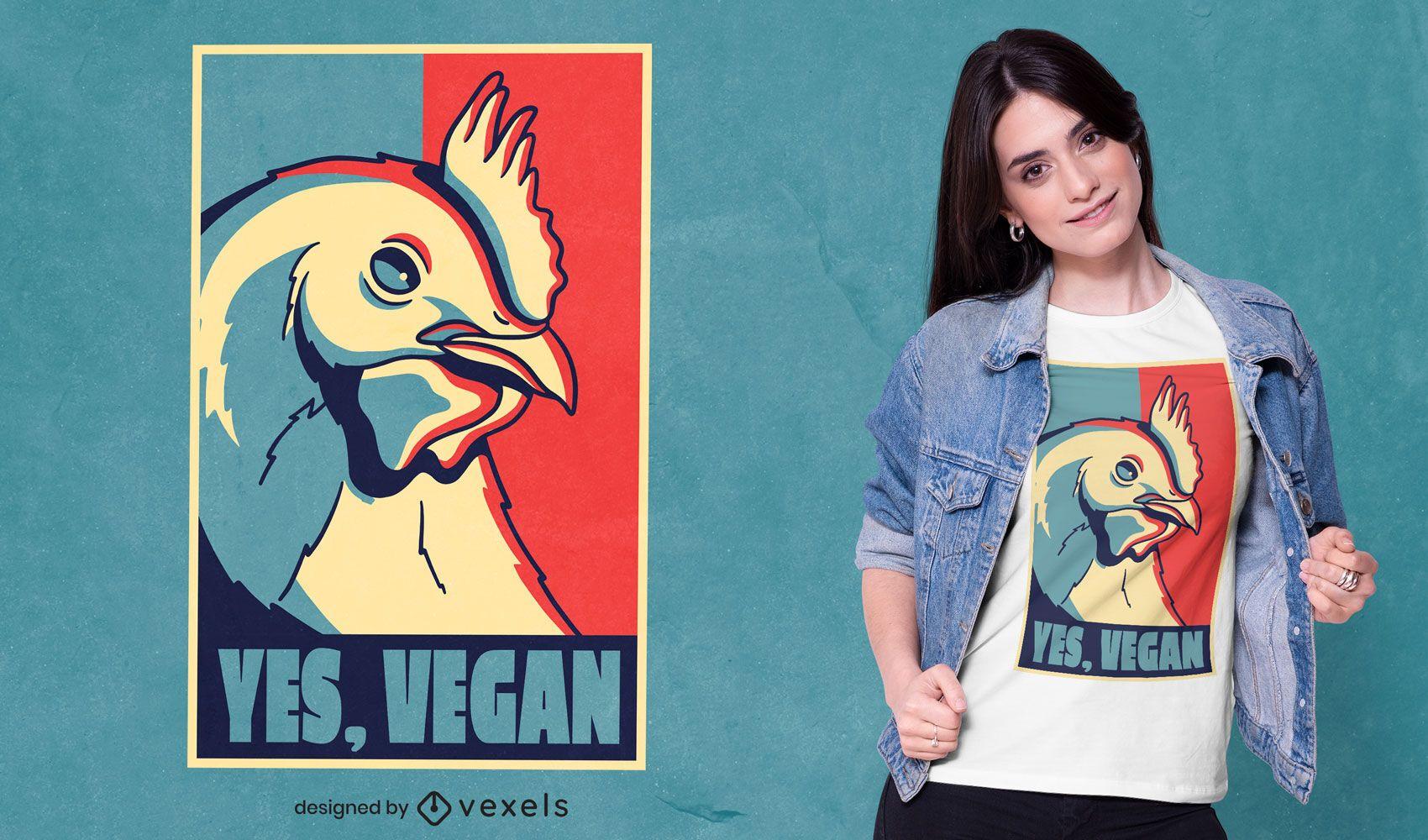 Diseño de camiseta vegana de cartel de animal de pollo.