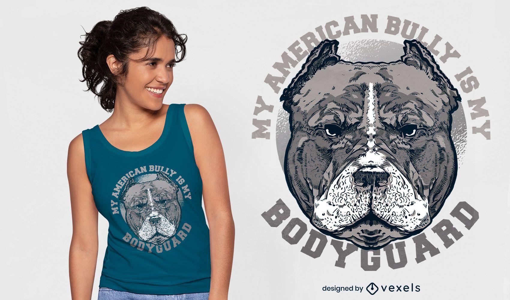 Diseño de camiseta de cita de guardaespaldas de perro pitbull