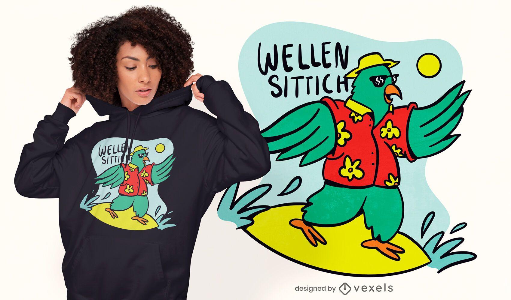 Design de t-shirt de desenho animado de papagaio surfando