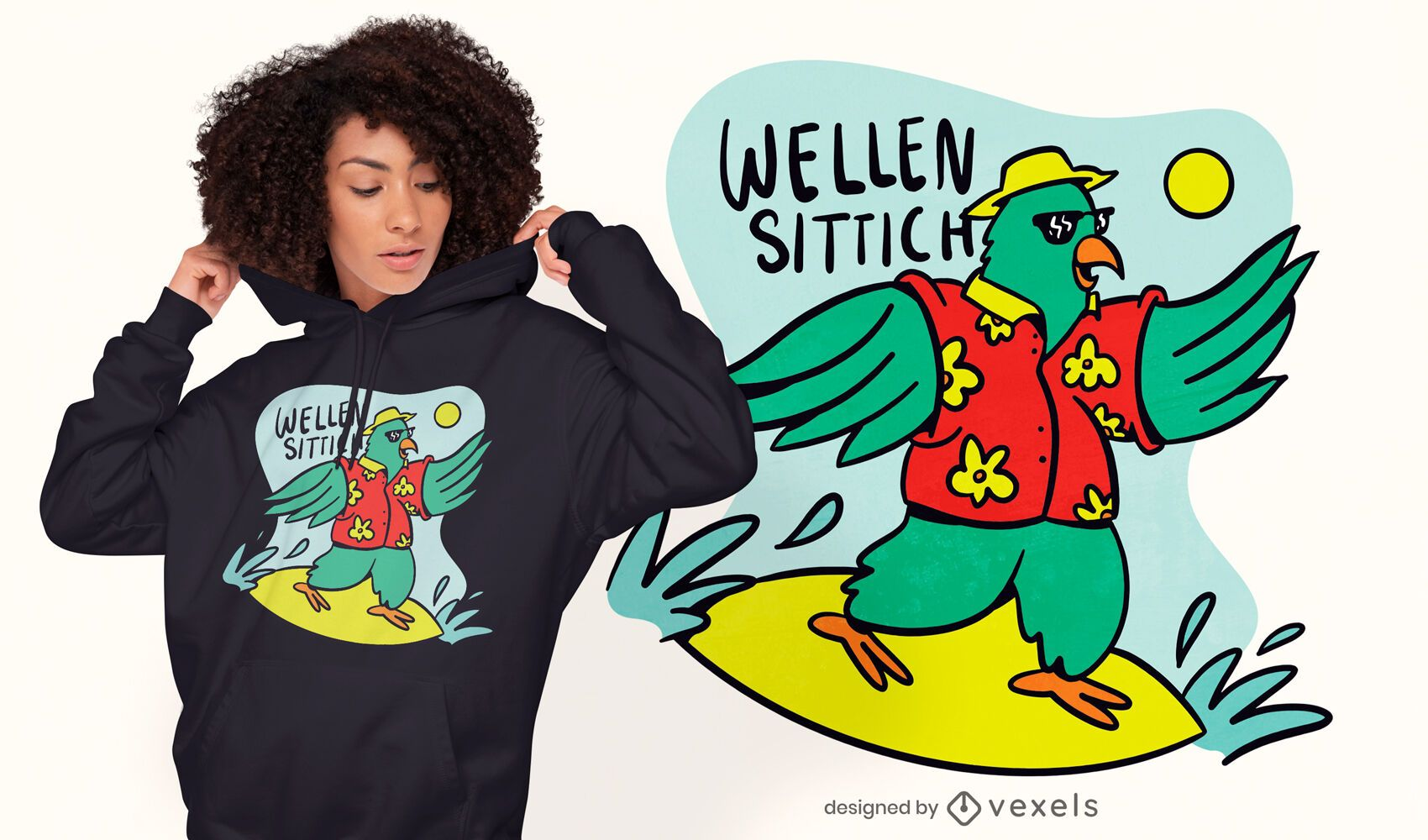 Surfing parrot cartoon t-shirt design