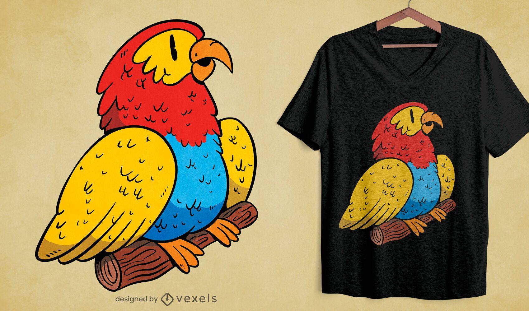 Buntes Papagei Tier T-Shirt Design
