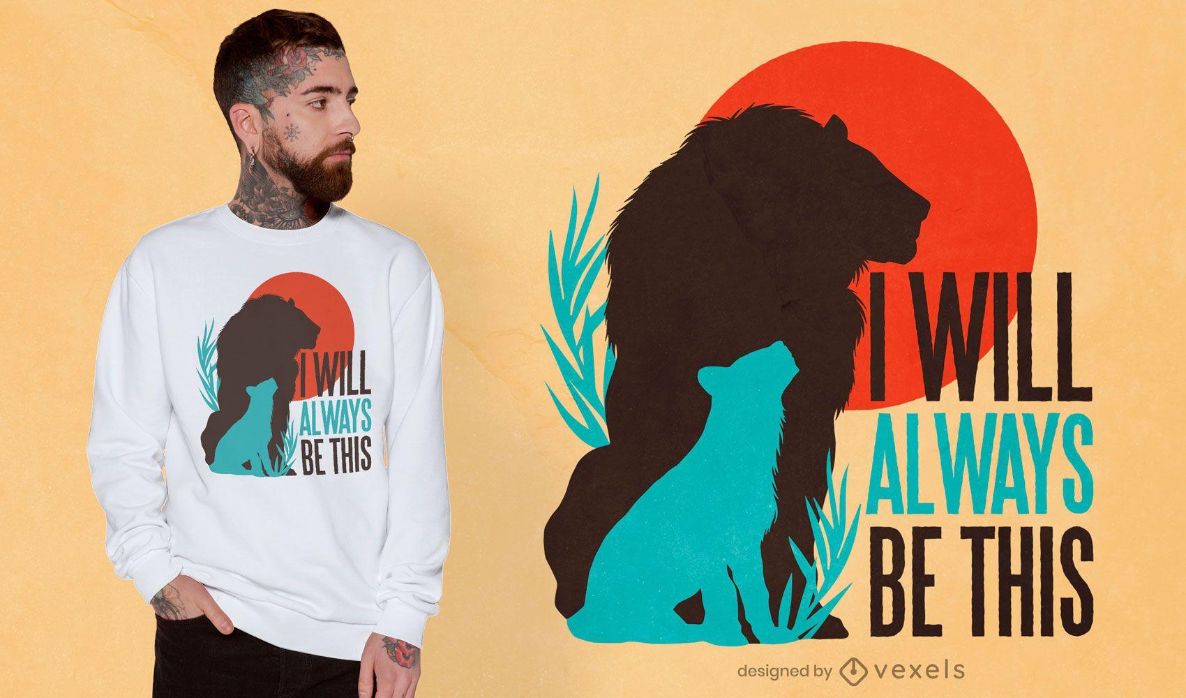 Diseño de camiseta de silueta de familia de leones