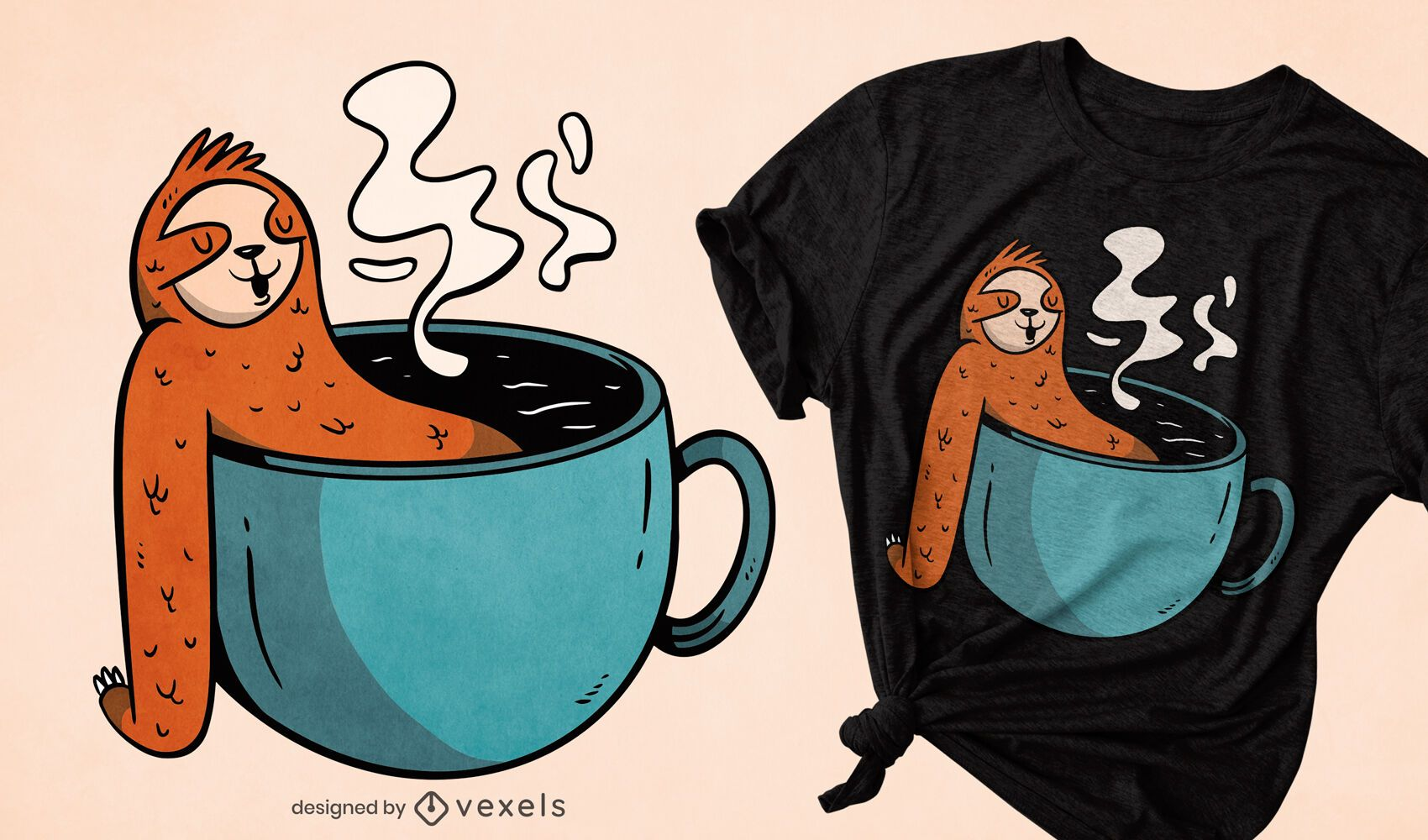 Animal-preguiça com design de camiseta de xícara de café