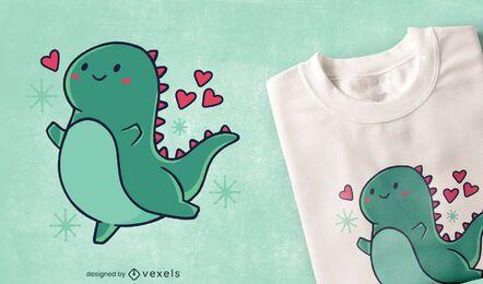 Lindo dinosaurio con diseño de camiseta de corazones