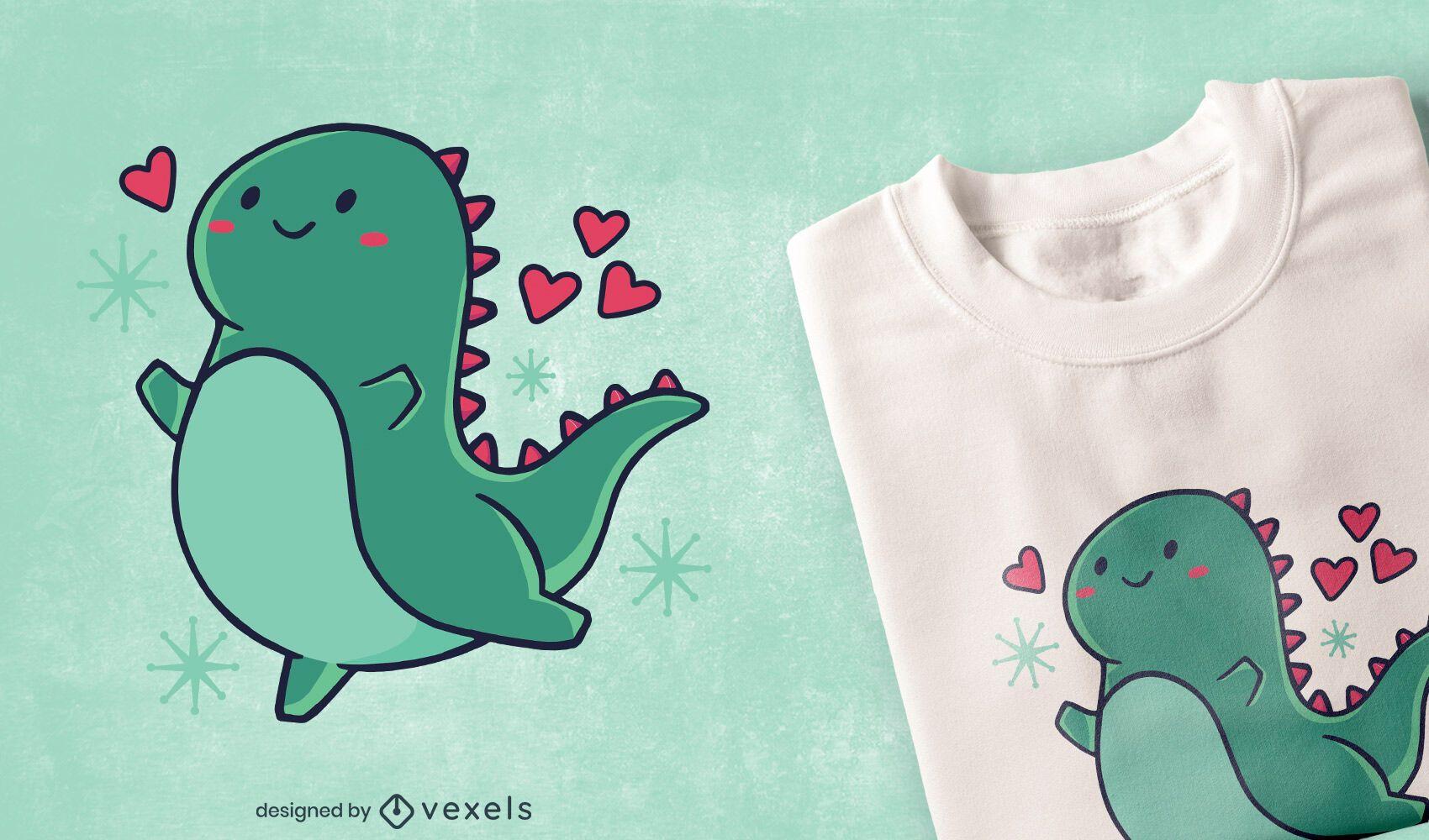 Süßer Dinosaurier mit Herz-T-Shirt-Design