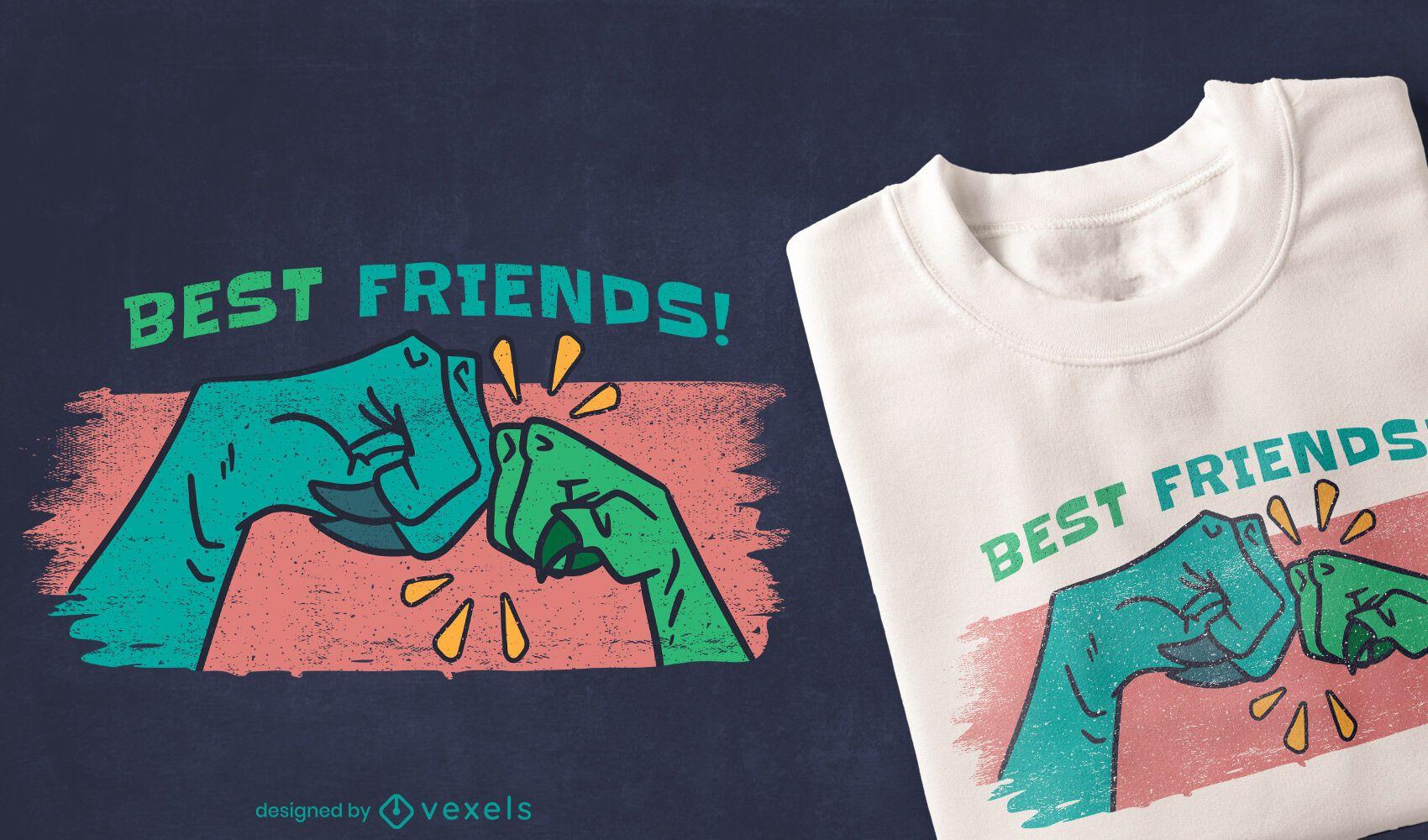 Diseño de camiseta con cita de amigos dinosaurios