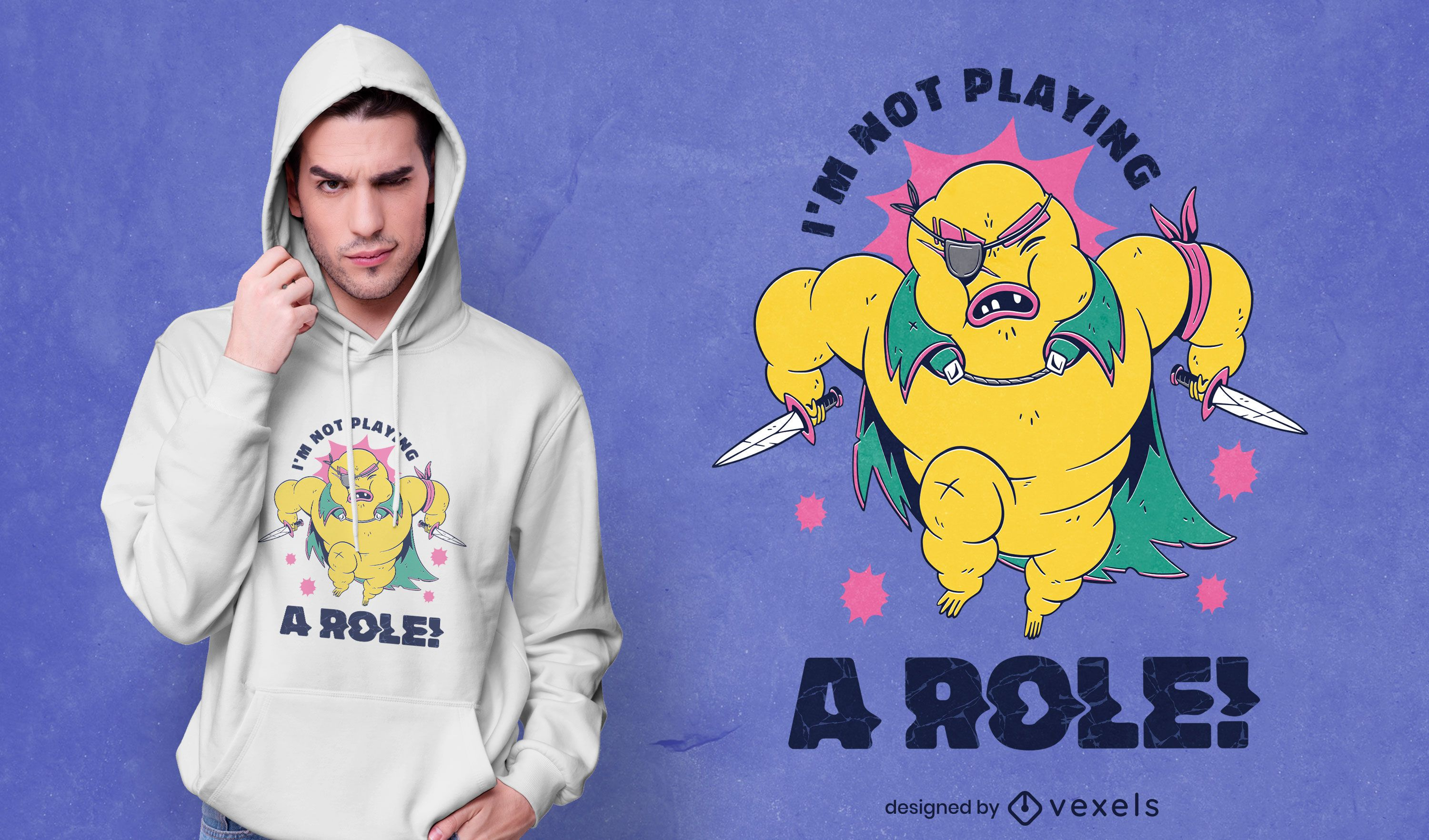 I'm not playing a role character t-shirt design