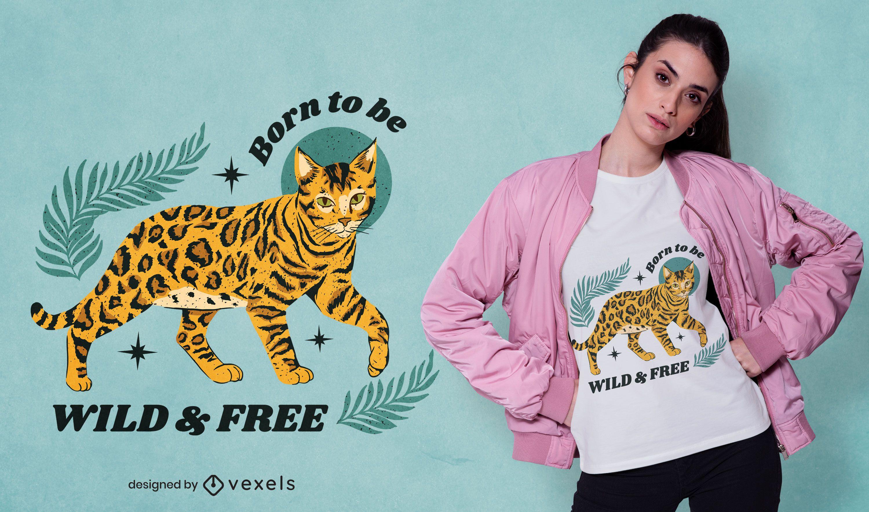 Design de camiseta com citação de gato leopardo