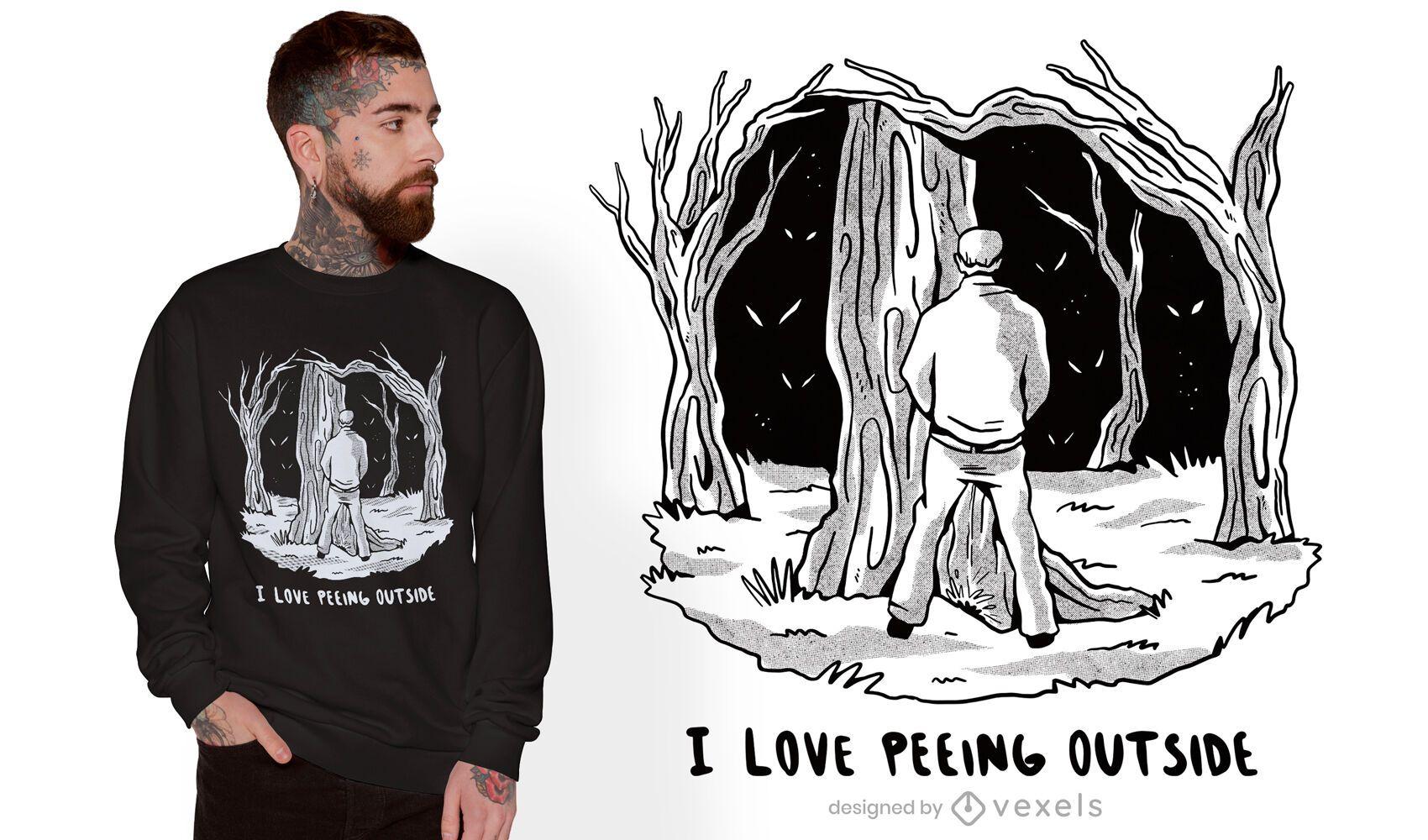 Design de camiseta do homem da floresta fazendo xixi