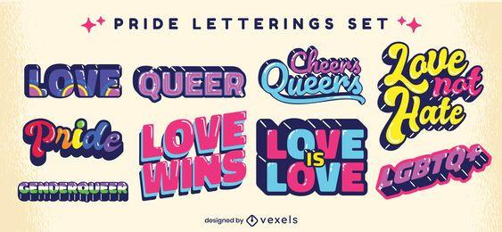 Conjunto de letras retro de orgullo de cita lgbt