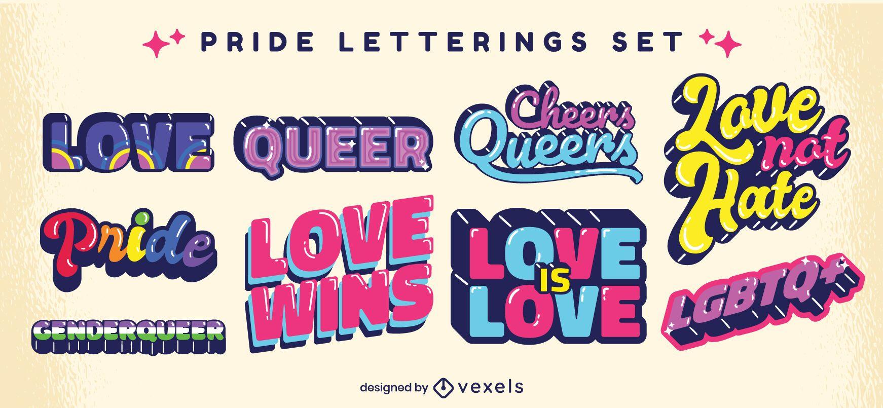 Conjunto de letras retrô orgulho LGBT