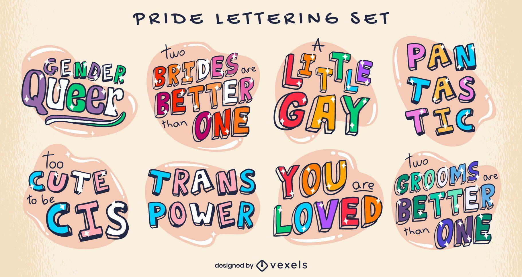 Lgbt pride month lettering hand drawn set