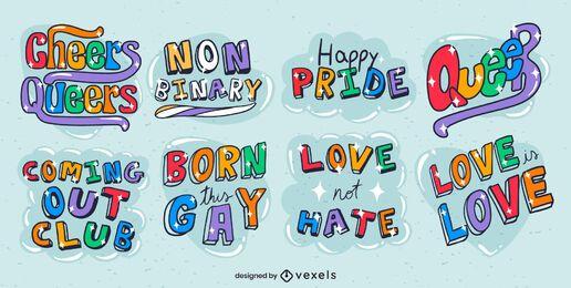 Lgbt pride month lettering glossy set