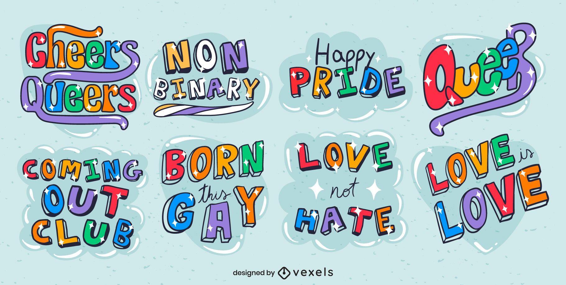 Conjunto brilhante de letras do mês do orgulho LGBT