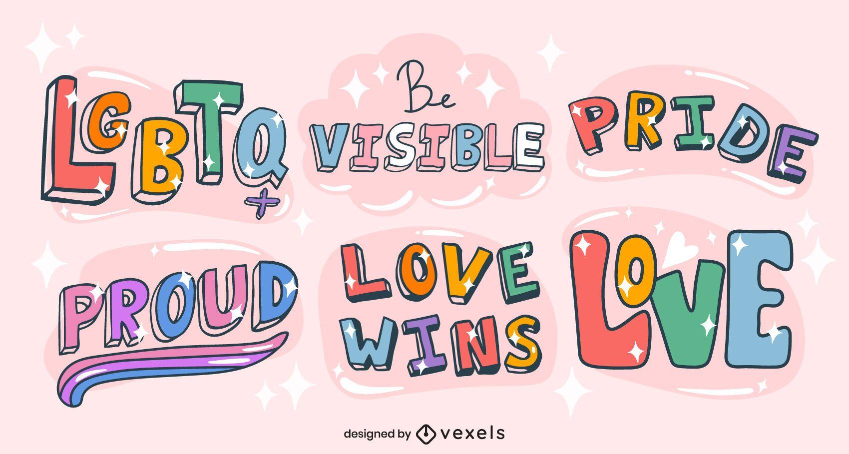 Conjunto brillante de letras de cita de orgullo lgbt