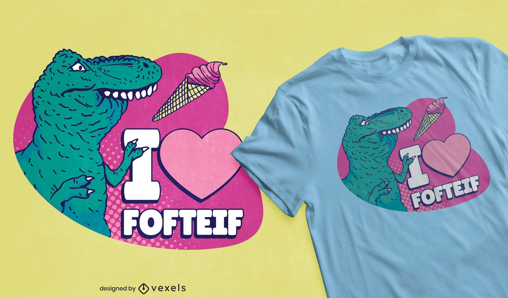 T-rex dinosaur ice cream t-shirt design