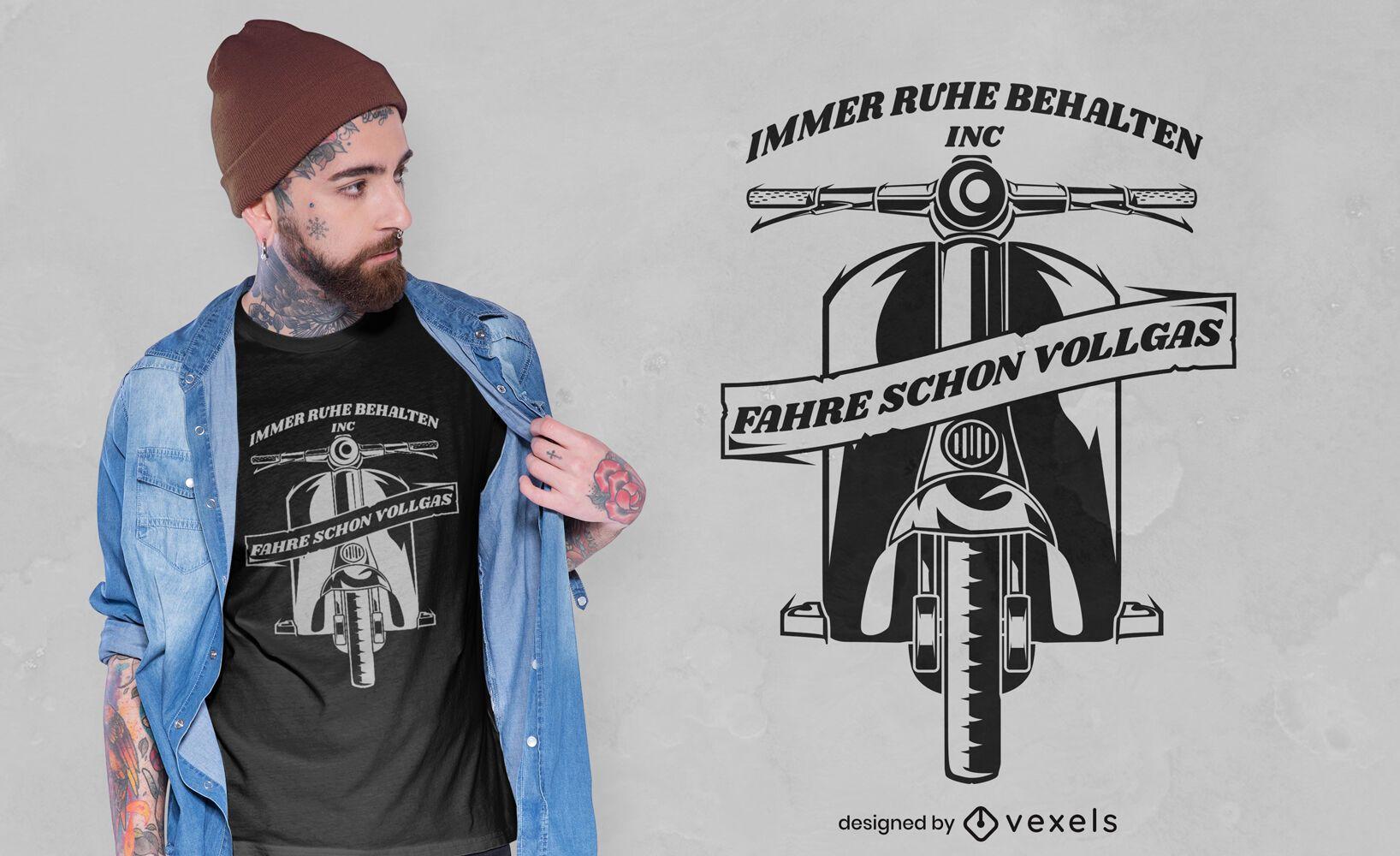 Diseño de camiseta de silueta de transporte de scooter.