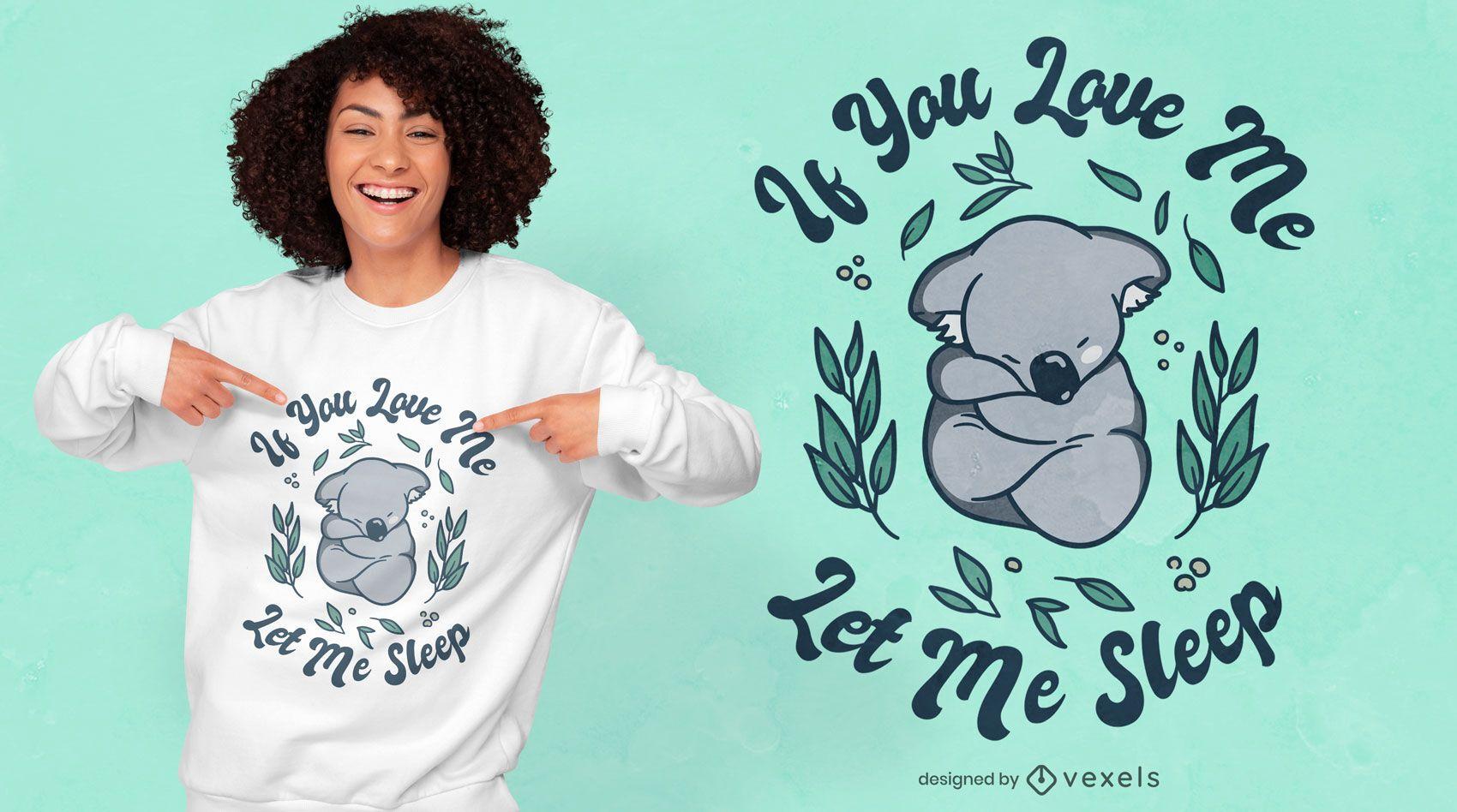 Diseño de camiseta de naturaleza dormida animal koala.