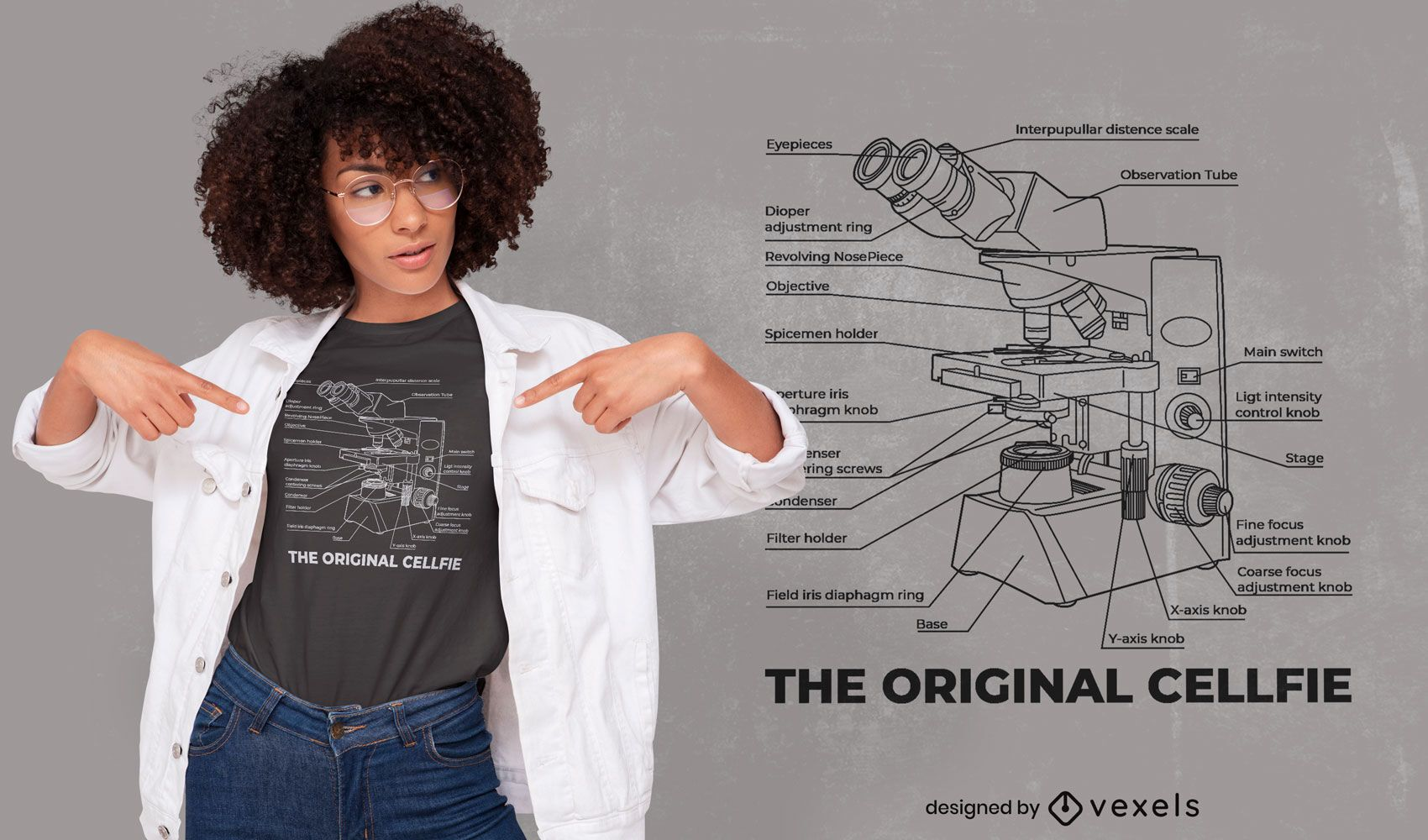 Microscope technical drawing t-shirt design