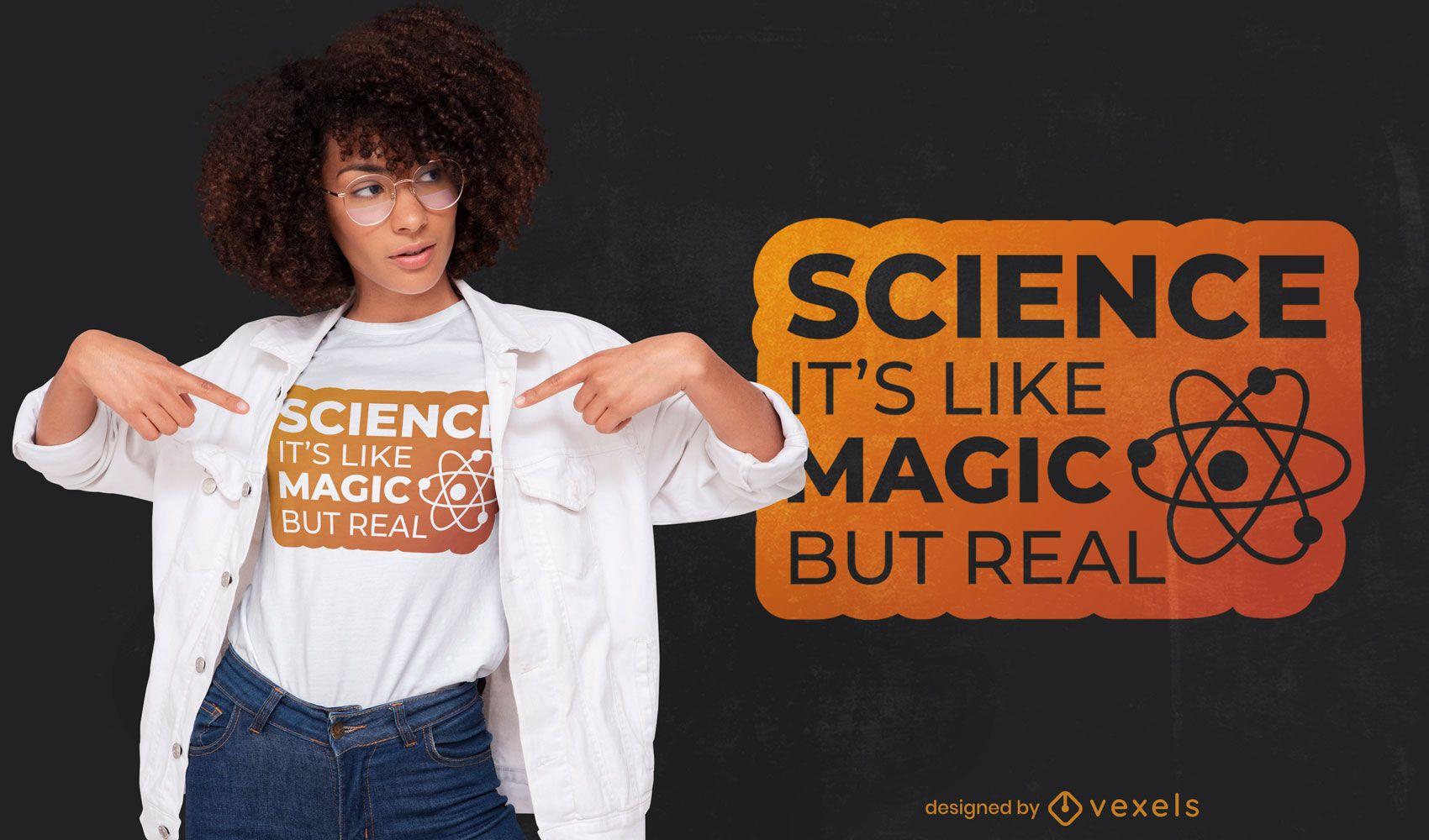 Design de t-shirt de citação científica e mágica