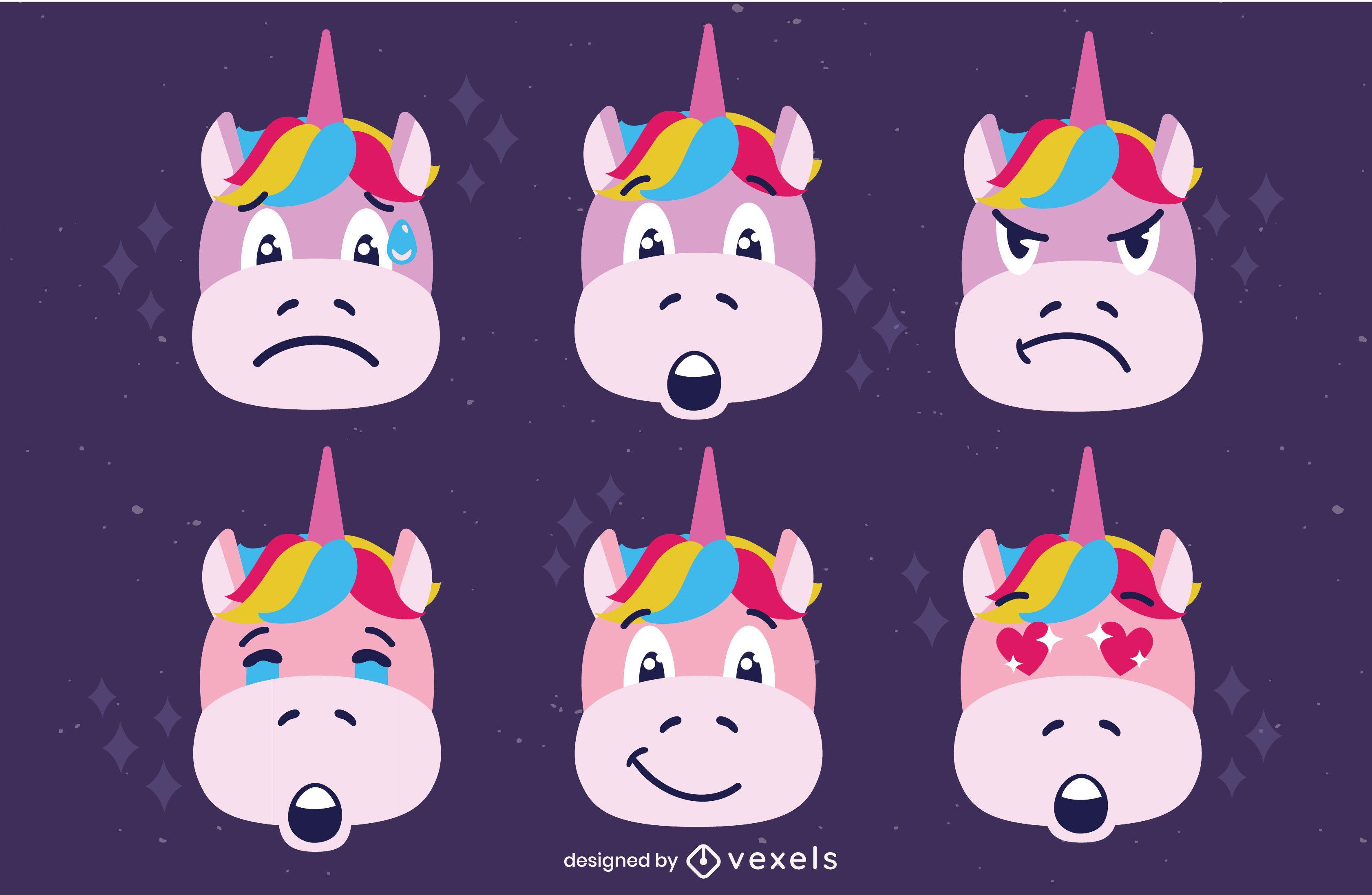 Unicorn emoji mood cute faces set
