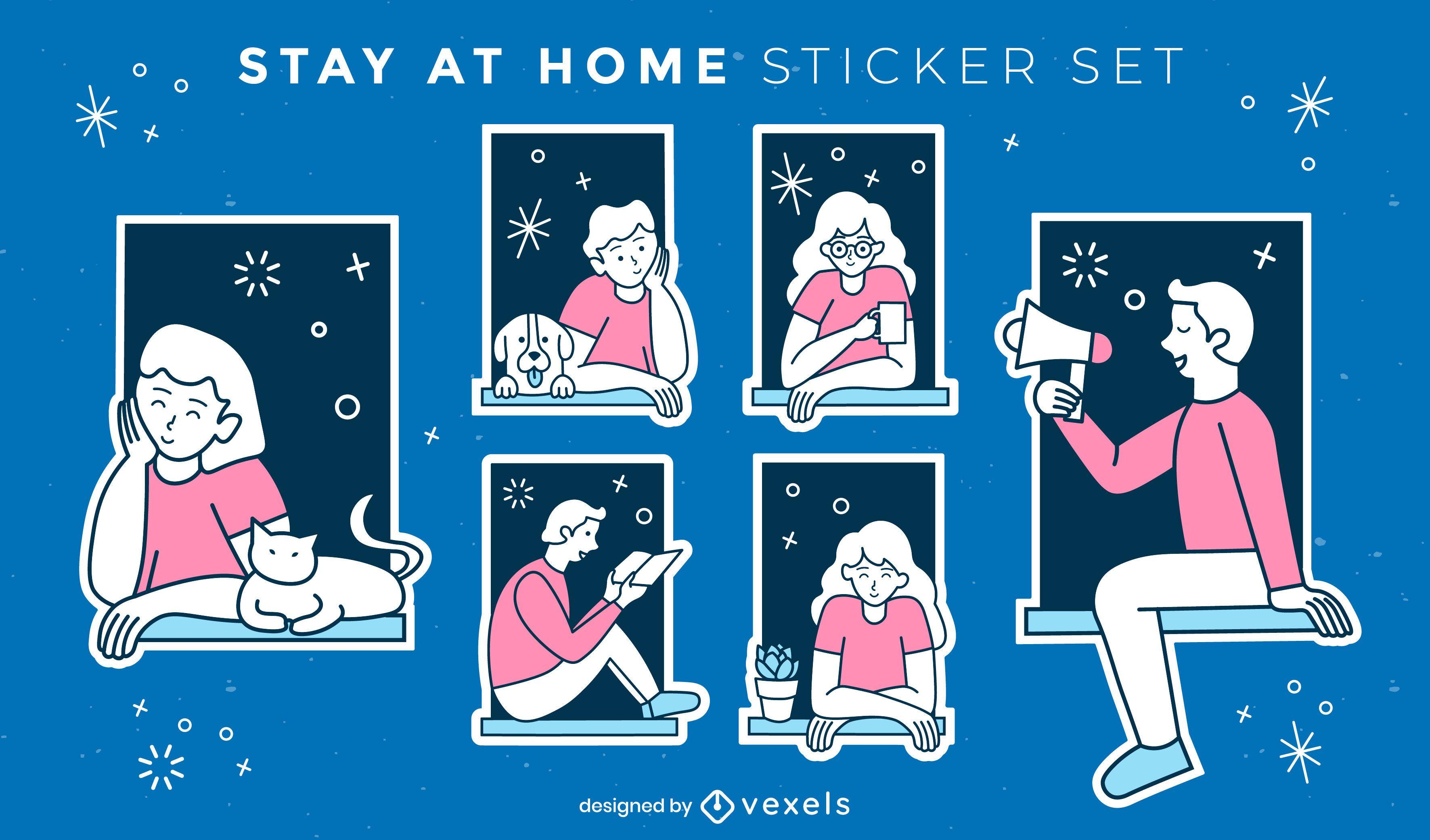 Conjunto de sticket para pessoas e animais de estima??o