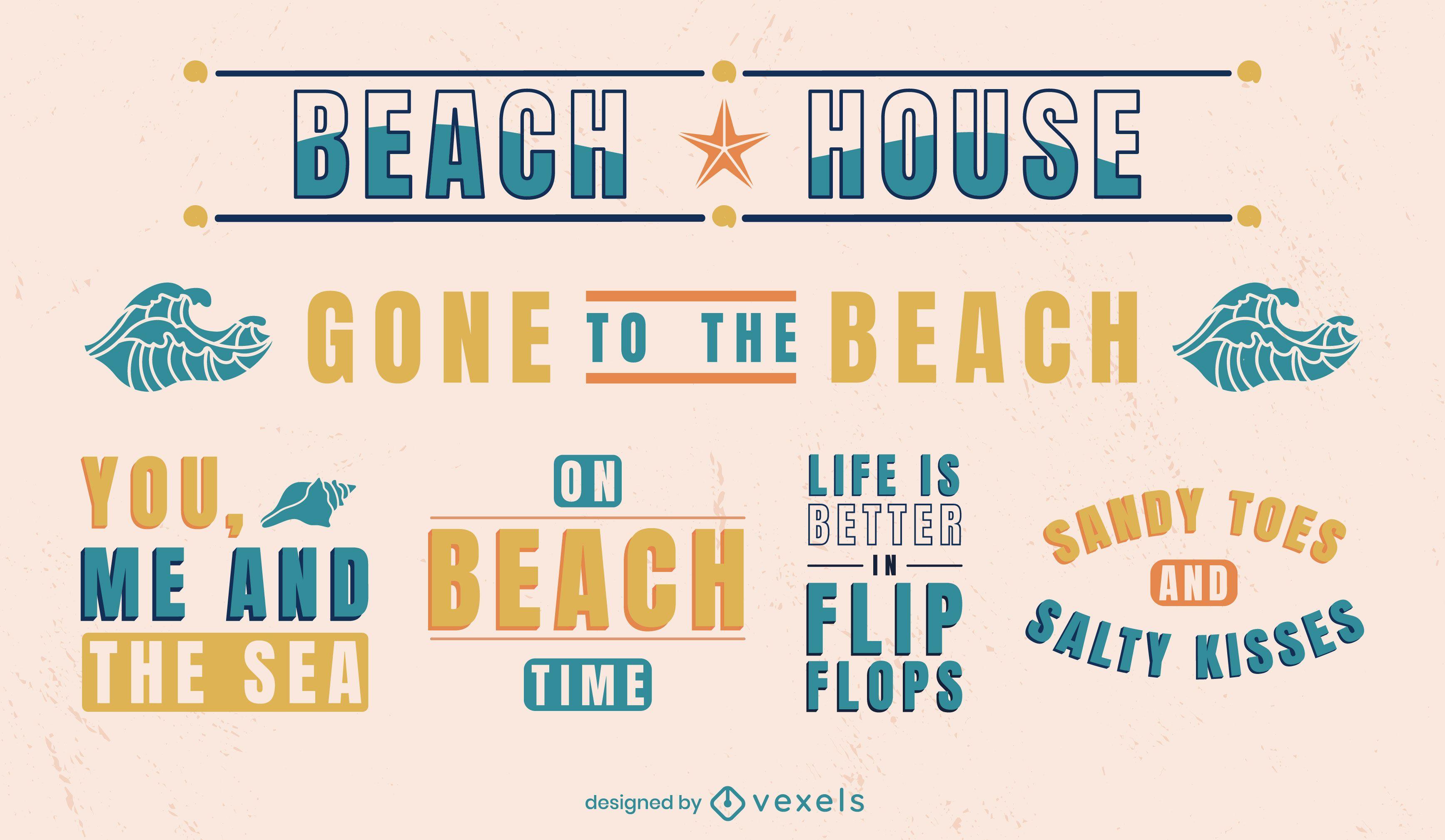 Conjunto de emblemas de citações de praia