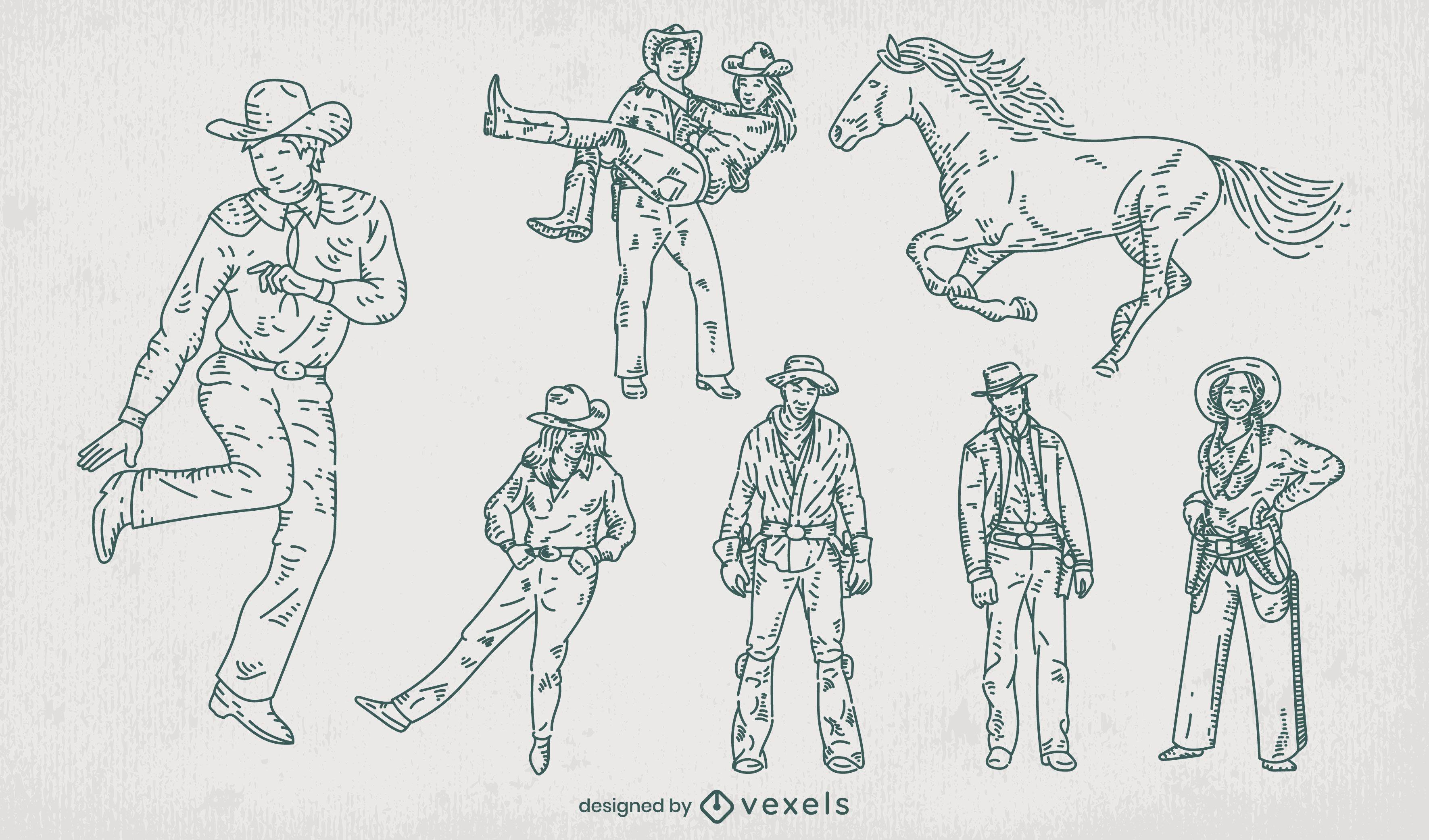Cowboy ranch hand drawn set of elements