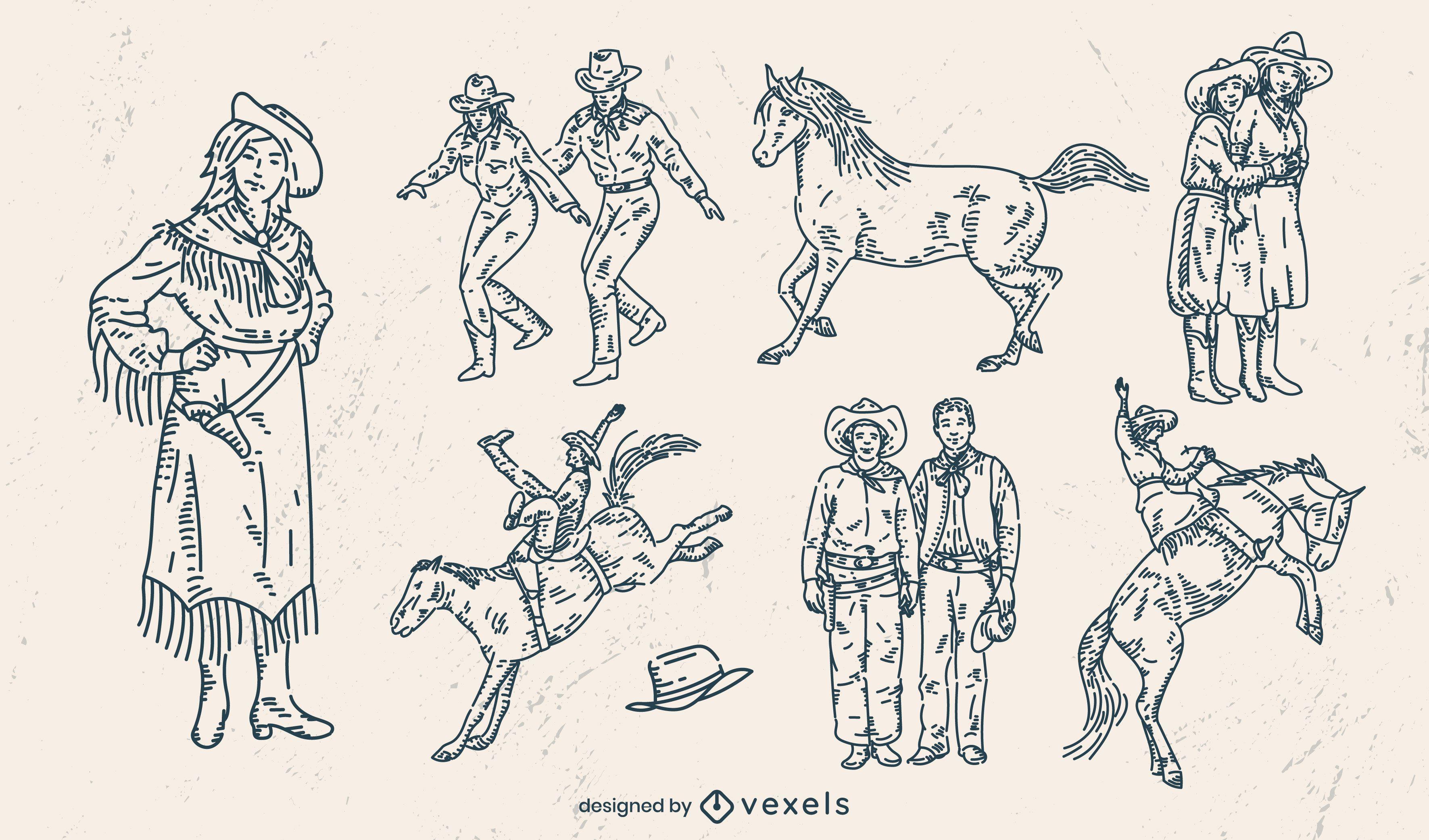 Conjunto de personajes de vaqueros rancheros.